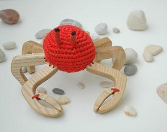 Wooden Toy Crab - Animal Toy Crab - Сrochet Animal Toy - Wooden Animal - Crochet Toy - Kids Gift