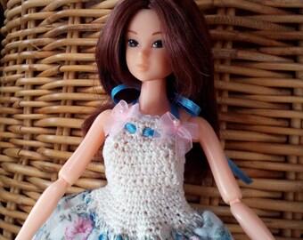 MOMOKO DRESS blue, cream and pink flowery summer dress for Momoko dolls OOAK