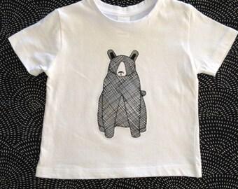 Toddler Boys Top size 2 / Boys T-shirt Monochrome Bear Print