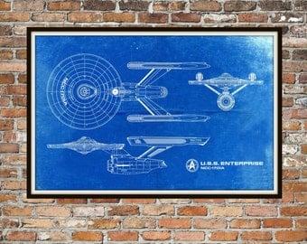 Star Trek Enterprise Blueprint Art of USS Enterprise NCC-1701-A Technical Drawings Engineering Drawings Patent Blue Print Art Item 0222A