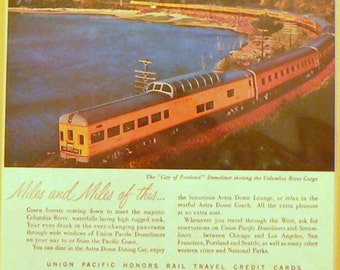 1956 Union Pacific Railroad Ad Matted Vintage Print