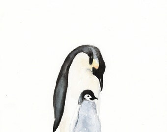 Mama and Baby Penguin Watercolor PRINT - Baby Animal Art - Penguin Painting - Baby Room Wall Art - Nursery Décor - Baby Shower Gift- Penguin