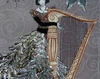 Harpist Card- Harp,Lady,Glamour, Silver Stars,Music, Silver,Musician,Christmas,Holiday,Stars,Silver,Purple,Holidays,Fashion,Handmade,Collage