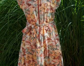 Beautiful 60s 70s Orange Vintage Floral Dress Hippie Boho Bohemian Hippy Flowers Summer Sixties Seventies Tropical Botanical