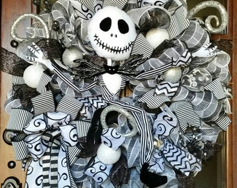 Jack Skellington Wreath, Nightmare Before Christmas Wreath, Halloween Wreath , Christmas Mesh Wreath, Jack Skellington