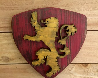 Game Of Thrones Sign, House Sigil, House Lannister, Hand Painted, Wood Sign
