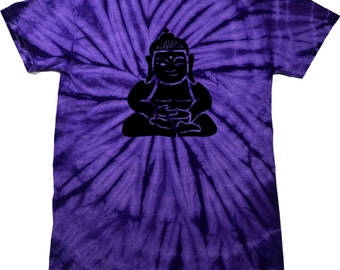 Yoga Clothing For You Mens Shirt Shadow Buddha Spider Tie Dye Tee Shirt = 1000S-SHADBUD