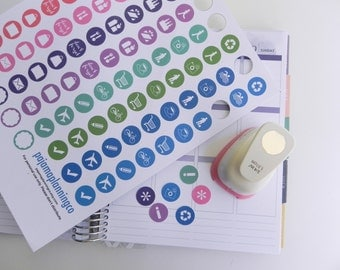 Multi-Colored Functional Printable Stickers \\ INSTANT DOWNLOAD \\ Great for Erin Condren Planner, Kikki K, Filofax \\ Use w/circle punch!