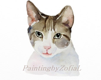 CUSTOM CAT PORTRAIT watercolor, custom pet portrait, portrait commission, portrait from photo,gift for cat lovers, Christmas gifts