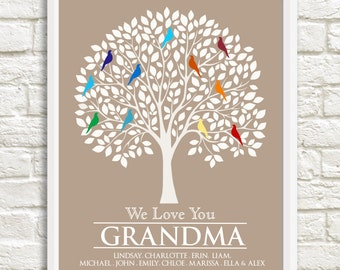 Gift for Grandmother, Grandma Christmas Gift,Custom Family Tree, Grandma Family Tree,Personalized Grandparent Gift, Grandma Gift