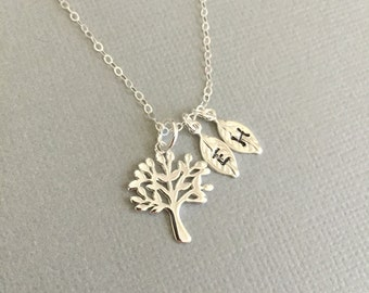 Family Tree Necklace, Initial Necklace, Sterling Silver, Mother's Necklace, Grandma's Necklace, Sister's Necklace, Silver Tree, Silver Leaf
