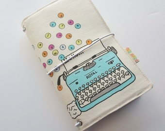 Typewriter Letters Fabric fauxdori cover Midori by Duly Noted