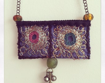 Long necklace ethnic boho with embroidery