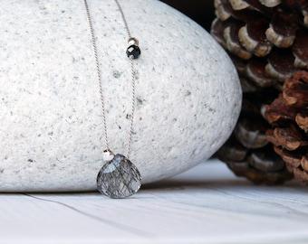 Black rutilated quartz necklace. Minimalist necklace with black rutilated quartz briolette Minimalist choker with a tourmalinated quartz