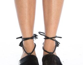 Cowhide Fur Slides With Leather Ties