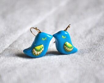 Blue Bird Earrings, Colorful Bird Jewelry, Bird Lover Gift,  Polymer clay Jewelry, Cute blue earrings FREE SHIPPING