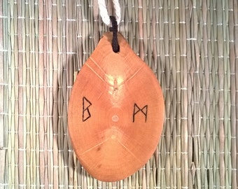 Rune necklace. Rune pendant. Mystic pendant. Wood jewelry. Rune amulet. Viking necklace. Pagan pendant. Spiritual jewelry. Rune talisman.