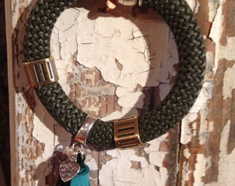 military green top nautical bracelet