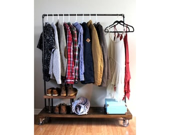 Delightful Clothing Rack With Stand, Garment Rack, Clothes Rack, Industrial, Rack,  Furniture