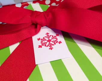 Snowflake Gift Tags/Christmas Tags/Wine Tags - Red and White - Set of 6