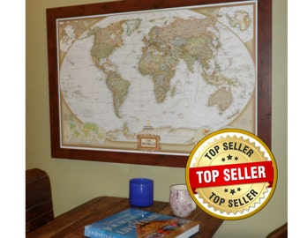 World Earth-toned  Push Pin Travel Map with Pins and Frame