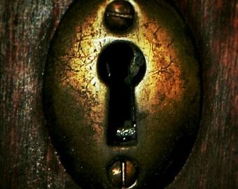 CANVAS ART, Skeleton Keyhole, Skeleton Key, Keyhole, Rustic, Key, Locks, Antique, Vintage, Gold, Brass