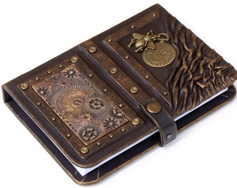 Steampunk leather journal,personalized leather notebook, travel journal, travel notebook,writing journal,steampunk,journals with lock