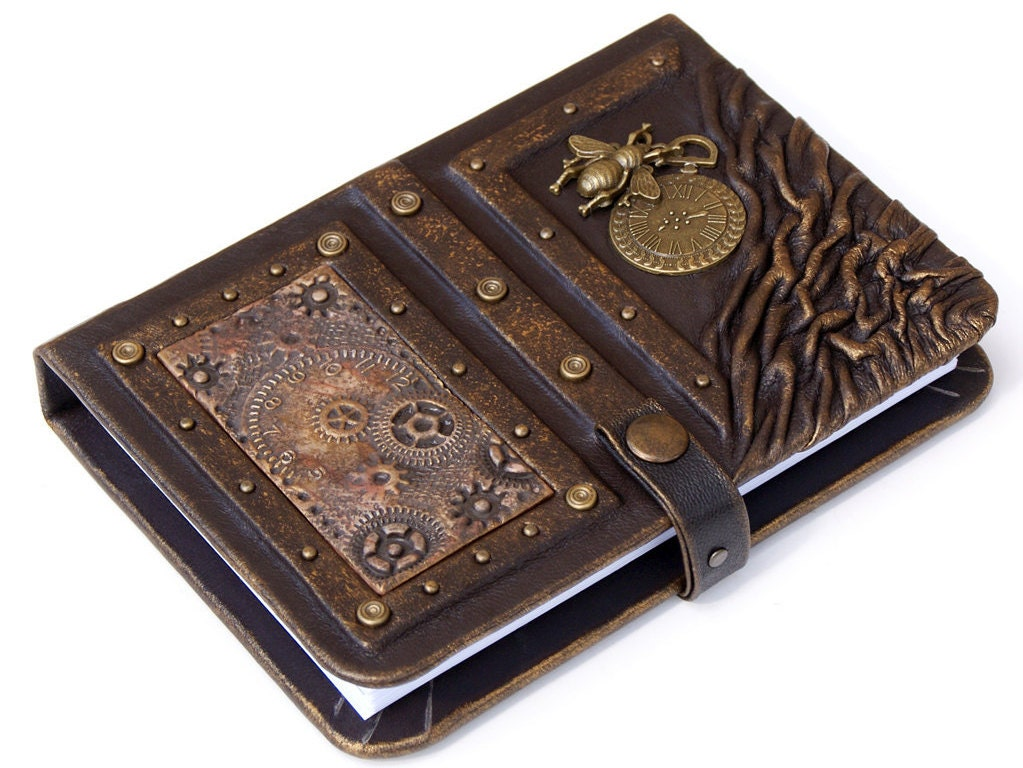 Steampunk leather journal personalized leather notebook