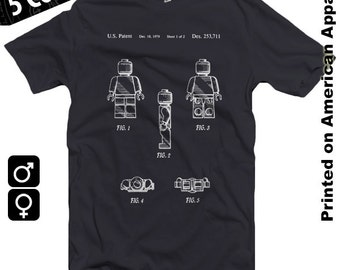 Lego 3 Patent Request American Apparel T-shirt S-XXL Men/Women, Lego Minifigures, Toy, Bricks, Lego Movie, Lego Kits, Games, Cool Gift!