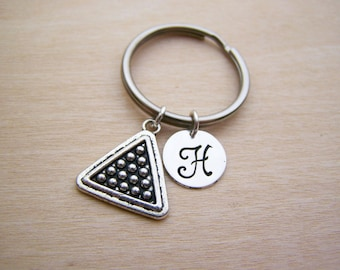 Billiards Charm - Personalized Key chain - Initial Key Chain - Custom Key Chain - Personalized Gift - Gift for Him / Her