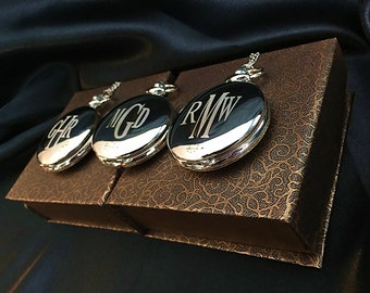 Groomsman gift -3 Laser engraved pocket watches -Silver personalized watch in gift box - Bridesmaid gift -Wedding gift-Personalized gift