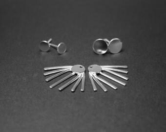 Ear jacket, Sterling silver ear jacket earrings, Spike earring, Sunburst earrings, Statement earrings, Double sided, add on stud earrings