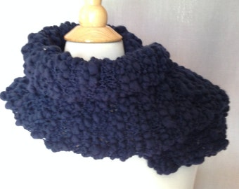 Navy Blue Textured Neck Warmer - Hand knit
