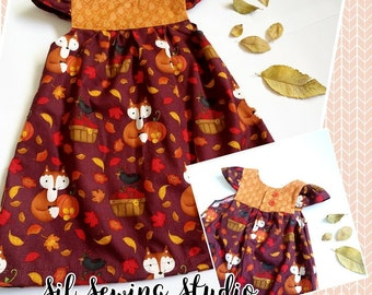 Girls dress foxes, Baby dress foxes, Girls foxes dress, Girl back to school dress, Foxes. Girls birthday dress foxes, Sizes: Newborn to 10