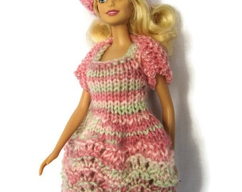 Barbie Clothes; Knit Barbie Dress, Hat Shrug; Barbie Doll Outfit; Barbie Wardrobe; Three Piece Outfit