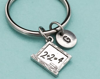 Chalkboard keychain, chalkboard charm, teacher keychain, personalized keychain, initial keychain, initial charm, customized, monogram