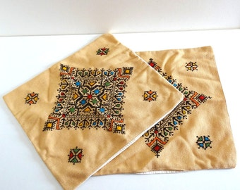 Retro 70s Boho Cushion Covers - Vintage Ethnic Embroidered Cushion Covers