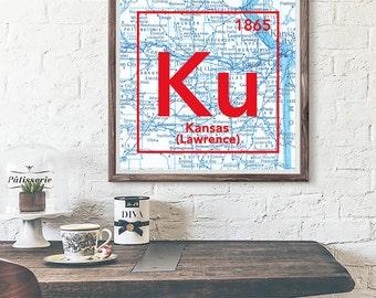 University of Kansas Jayhawks Lawrence Ks UNFRAMED Vintage Periodic Table Map ART PRINT, birthday graduation gift ideas for her, All Sizes