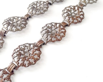 Vintage Smaller Link Silver Tone Filigree Chain Finding