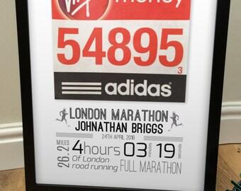 London Marathon Number Framed Personalised Gift - Great present for runner athlete - Any event - Any Race bib - Running, Triathlon, Marathon