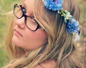 Spring summer blue flower floral headband crown adjustable