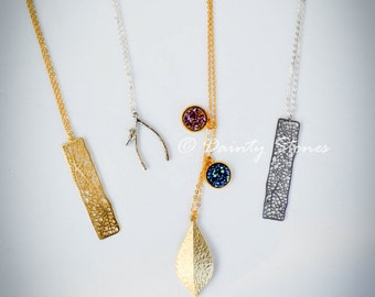 Silver n' Gold Rectangle pendant Necklace/Elegant & Delicate Looking/great gift/Sophisticated jewelry piece!