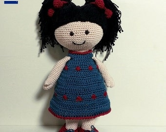 Isabel doll, amigurumi crochet pattern