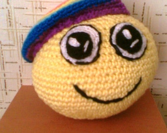 "Smiley ""Rainbow smile"", knitted toy/smilie"