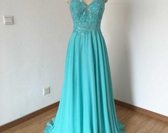 Long Prom Dress, Prom Dress 2016, Cap Sleeves Prom Dress, Turquoise Blue Prom Dress, Chiffon Prom Dress, Backless Prom Dress
