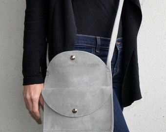 Grey Suede Bag, Grey Suede Handbag, Suede Bag with Fringe, Handbag with Fringe, Suede Fringe Bag, Grey Fringe Bag, Suede Crossbody Bag