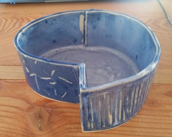Japanese Style Ceramic Vase / Ikebana Container. Hand-build white stoneware with blue glaze - pottery vessel for floral arrangements