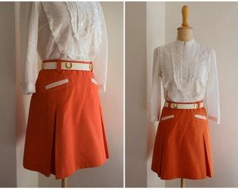 60s Mini SKIRT Sz XS S Orange Short A-line Clueless School Uniform Pleats Lining
