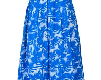Palm printed Skirt,Pleated Skirt,  Flippy Skirt, High Waist Skirt, Summer Skirt, Skarlet - SIZE L