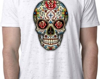 Men's Skull Shirt Sugar Skull with Roses Burnout Tee T-Shirt WS-16553-NL6110
